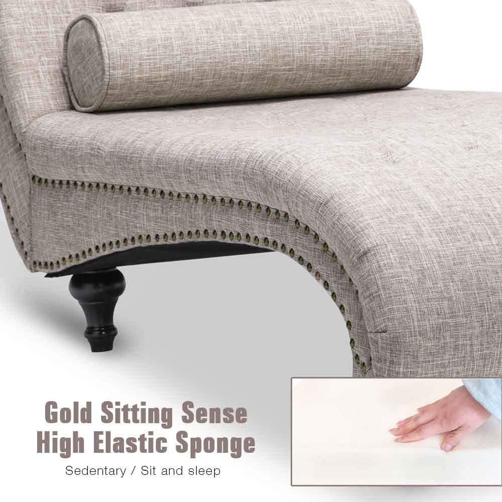 Beige- Fabric OKAKOPA Indoor Chaise Lounge Chair Tufted Cushion Nailhead Trim Fabric with Pillow for Living Room Bedroom Wooden Frame
