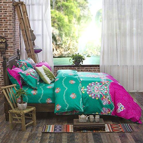 Best Duvet Cover Sets, 3 Pieces Bedding Set Bohemian Exotic Style Floral Duvet Cover Pillow Cases King Size Pattern1