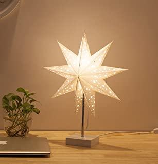 Led Desk Lamp Table Light Paper Star Wood Lamp,Day-up Nordic Design of Modern Retro Minimalist Bedside Living Room Table Lamps