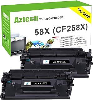 Aztech Compatible Toner Cartridge Replacement for HP 58X CF258X 58A CF258A Laserjet Pro M404n M404dn M404dw MFP M428fdw M428dw M428fdn No Chip (Black 2-Pack)