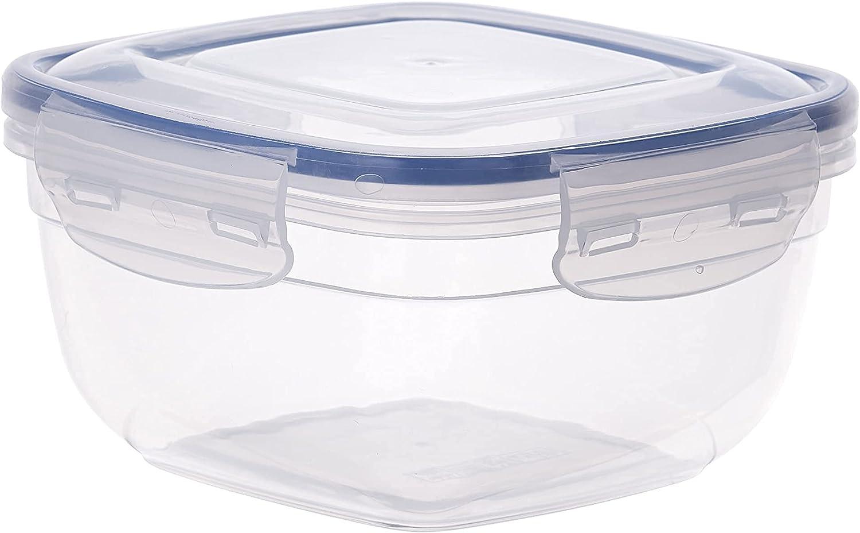 Superio Sealed Plastic Food Storage Container, 4 Qt- Square Microwave and Freezer Safe, BPA Free Plastic (1, 4 Quart)