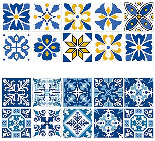 Keleily Baldosa Adhesiva Pared Baño 20 Piezas Cenefas Adhesivas Cocina Azulejos Adhesivos Vintage Vinilos Cocina Azulejos Impermeable para Piso, Escalera, Sala de Estar, Bañera, Armario, 15X15CM - C