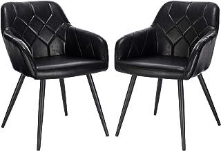 EUGAD Pack de 2 Sillas de Comedor Vintage Diseño de Cuero Sintético Sillas Nórdicas Moderna Silla de Cocina Salón Dormitorio Conferencia Negro