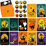 12 Sets Halloween Greeting Cards with Envelope Sticker Funny Halloween Card Spooky Halloween Postcard Witch Ghost Pumpkin Spider Halloween Card for Halloween Party Celebration Supplies, 12 Designs