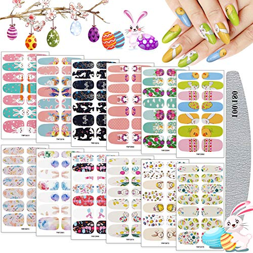 Easter Full Wraps Nail Art Polish Stickers, Kalolary 12 Sheet Easter Self-Adhesive DIY Nail Art Decals Strips Eggs Rabbits Adhesive Nail Decals Manicure Set with Nail File for Women Girls