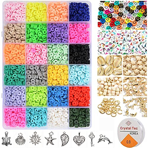 4000pcs Clay Beads for Jewelry Bracelet Making Kit 6mm 24 Colors Flat Polymer Heishi Beads DIY Craft Kit with Smiley Face Letter Bead Jump Rings Elastic String Cord Pendant Charms