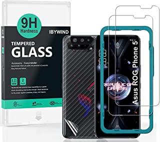 Ibywind Screen Protector for Asus Rog phone 5, [Pack of 2] with Metal Camera Lens Protector,Back Carbon Fiber Skin Protect...