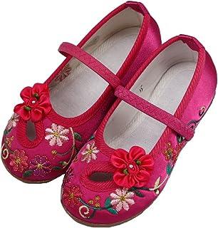 [Hooyi] 伝統的女性の赤ちゃんは刺繍花快適ローヒール学步靴靴子供旅行のレジャー靴