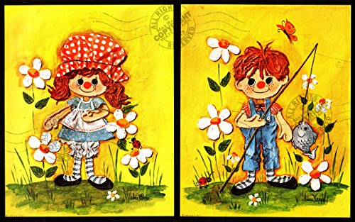 Animated Paper Mache Dolls : Children's Room ART boy + girl RAGGEDY Ann + Andy daisies + fishing by Edna Vierra : Fine Art Poster Print (2pc. Ready to Display or Frame) Size: 8' x 10'