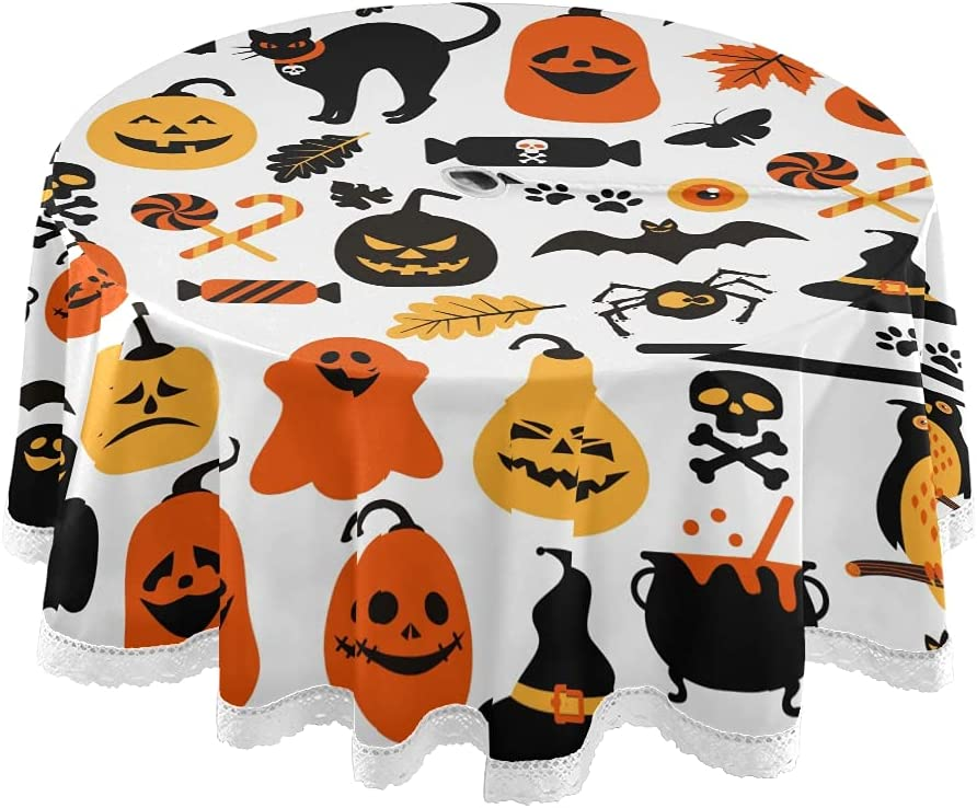 xigua 60Inch Halloween Tablecloth Max 81% OFF Elements overseas Table Round