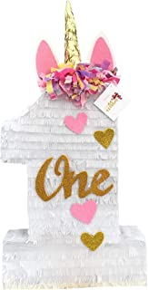 APINATA4U Unicorn Number One Pinata with Gold & Pink Accents