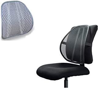 Cushion Cool Vent Mesh Back Lumbar Support for Office Chair Car Seat Pillow Breathable Fabric (Gray)