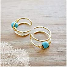 Double Band Helix 1pc Ear cuff Gold Brass Turquoise Cuff Earring Ear Wrap Non Pierced Fake Conch Piercing Clip On