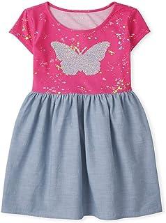 فستان كاجوال للفتيات بأكمام قصيرة برسوم مطوي من ذا كيدز بليس