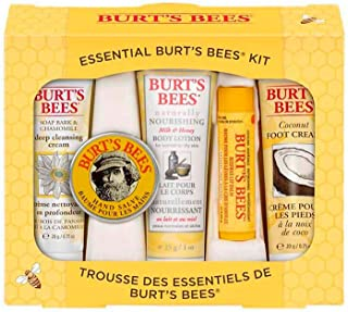 Burts Bees Essential Everyday Beauty Gift Set, 5 Travel Size Products - Deep Cleansing Cream, Hand Salve, Body Lotion, Foot Cream and Lip Balm