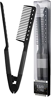 Herstyler Comb For Straightening Hair, Hair Styling Comb For Great Tresses, Flat Iron Comb With A Firm Grip, Straightening Comb For Knotty Hair, Flat Iron Heat Resistant Comb, Get wooed (Black)