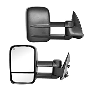 Perfit Zone Towing Mirrors Replacement Fit for 1999-2002 SILVERADO SIERRA,POWER HEATED,W/O SIGNAL,BLACK (PAIR SET)