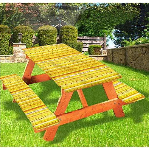 Mantel de mesa y banco de picnic abstracto, diseño de rayas lunares con borde elástico ajustable mantel de 70 x 72 pulgadas, juego de 3 piezas para camping, comedor, exterior, parque, patio