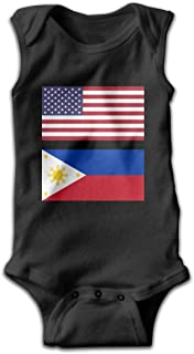 United States Flag & Philippines Flag Newborn Infant Baby Sleeveless Jumpsuits Playsuit Outfits Pajamas