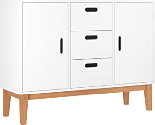 HOMECHO Console Storage Cabinet Sideboard, Kitchen Buffet Server Cupboard Table, Modern Bathroom Cabinet with 2 Doors and 3 Drawers, White