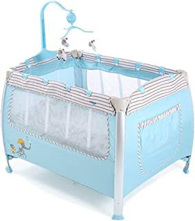 Yyqt Baby Cot,Change Table Portable Baby Travel Cot, 2 in 1 Design as Bassinet Bed & Activity Play Center, Foldable Frame with Mattress, Storage Pocket