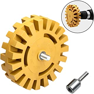"""Rubber Eraser Wheel Car Decal Sticker Adhesive Remover 4""""Pad with Drill Adapter"""