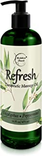 Refresh Massage Oil with Eucalyptus & Peppermint Essential Oils - Great for Massage Therapy. Stress Relief & All Natural M...