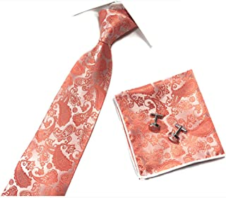 Paisley Handkerchief Cufflinks Ties Set Formal Necktie Pocket Square For Men 3pc