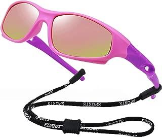 Girls Polarized Rubber Flexible Sunglasses for Kids Age...