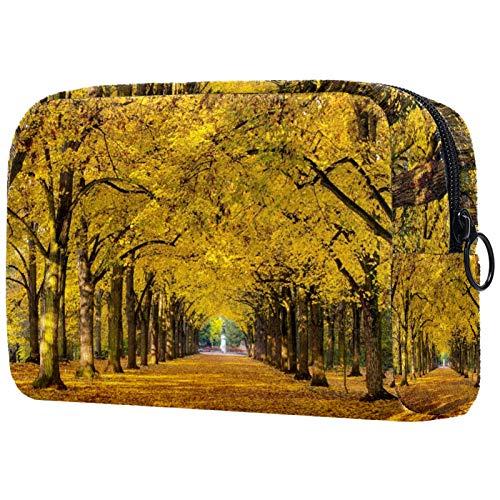 Bolsa organizadora de cosméticos para mujer con cremallera de 19 x 7 x 12 cm, árboles de otoño follaje amarillo Avenue