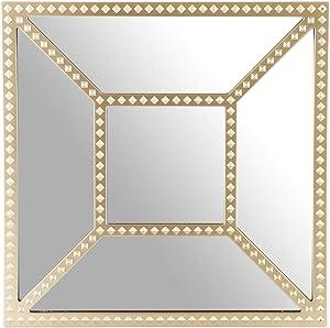Dibor - Espejos Cuadrados para Colgar en la Pared, diseño de champán Biselado, 25 cm, Color Dorado