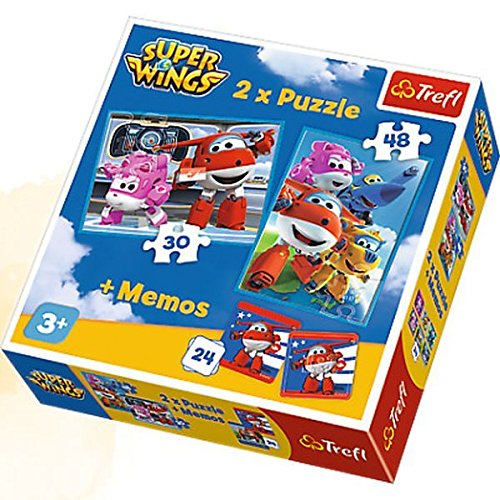 Trefl–superwings Puzzle 2in 1mit Spiel-24Memo–Super Wings, 90635
