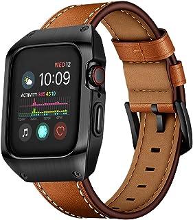 VICARA Compatible with Apple Watch バンド Series 5/Series 4 44mm 保護ケース 一体型 傷防止 アップルウォッチ バンド 44mm レザー ビジネス風(ブラック)