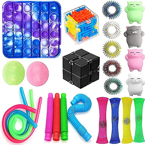 VANREYIN 25 Combinations Fidget Toy,Autism Special Needs Stress Reliever Silicone Stress Reliever...