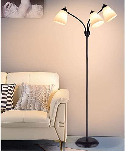 high quality DLLT Modern Reading Floor Lamp, popular 3-Light with Adjustable Flexible Gooseneck Tree Standing Lamp for Living Room, high quality Bedroom, Study Room, Office -Black Metal White Shades, E26 Base outlet online sale