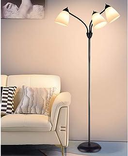 Lampadaire Led,Lampadaire Sur Pied Salon de 3 Tête,Lampadaire, Lumières Chaud, 3 Lumières avec Lampe Réglable en Cou de Cy...