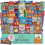 Snack Box Variety Pack (60 Count) Fathers Day Gift Basket for Dad - College Student Care Package, Prime Food Arrangement, Candy Chips Cookies Bars - Birthday Treat for Women, Men, Adults, Kids, Teens
