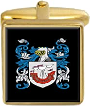 Select Gifts Owens Wales Family Crest Surname Coat Of Arms Gold Cufflinks Engraved Box