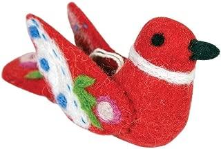 Wild Woolies Alpine Love Bird Felt Ornament - Red