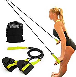 Dryland Powercord with Paddles,Swimming Arm Strength Trainer, Professional Freestyle Swimming Resistance Exercise Bands Set
