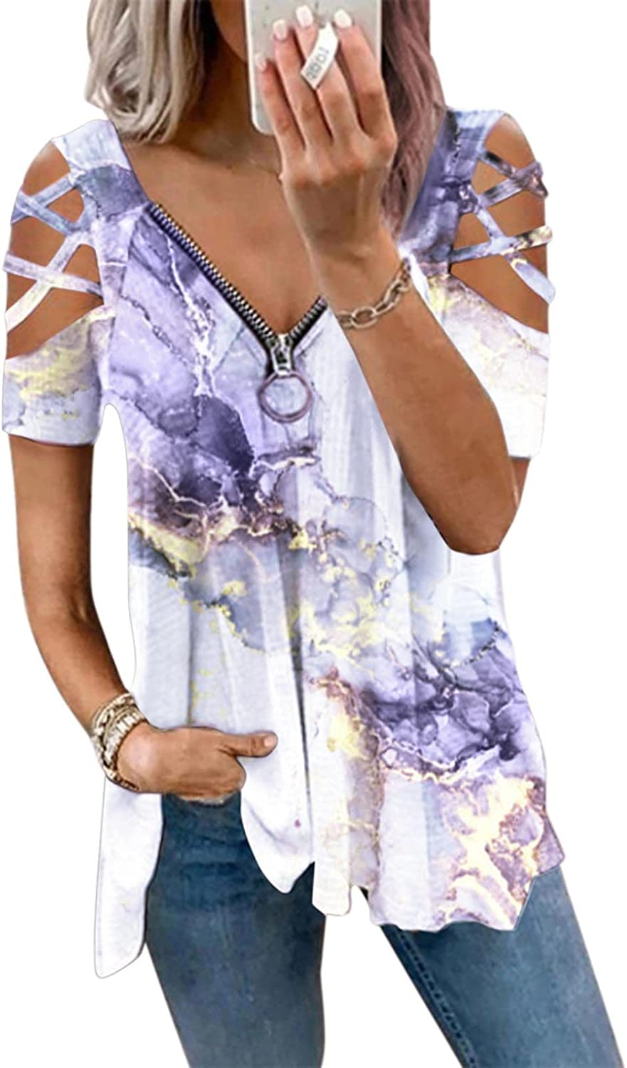 JSPOYOU Womens Summer Top,Fashion Short Sleeve Strapless Casual Tunic Tops,Daily Loose Fit T-Shirt Zipper V-Neck Blouses