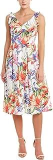 Women's Ruffle Shoulder Sleeveless Floral A-Line Dress
