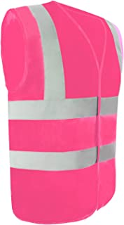 Safety Vest Reflective stripes Safety knitted Vest Bright Construction Workwear for men and women. (Medium, pink)