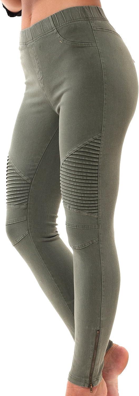 LAINAB Womens Biker Skinny Ankle Zipper Pleated Stretch Low Waist Pencil Pants