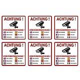 Lot de 6 autocollants avec inscription en allemand'achtung videoüberwachung