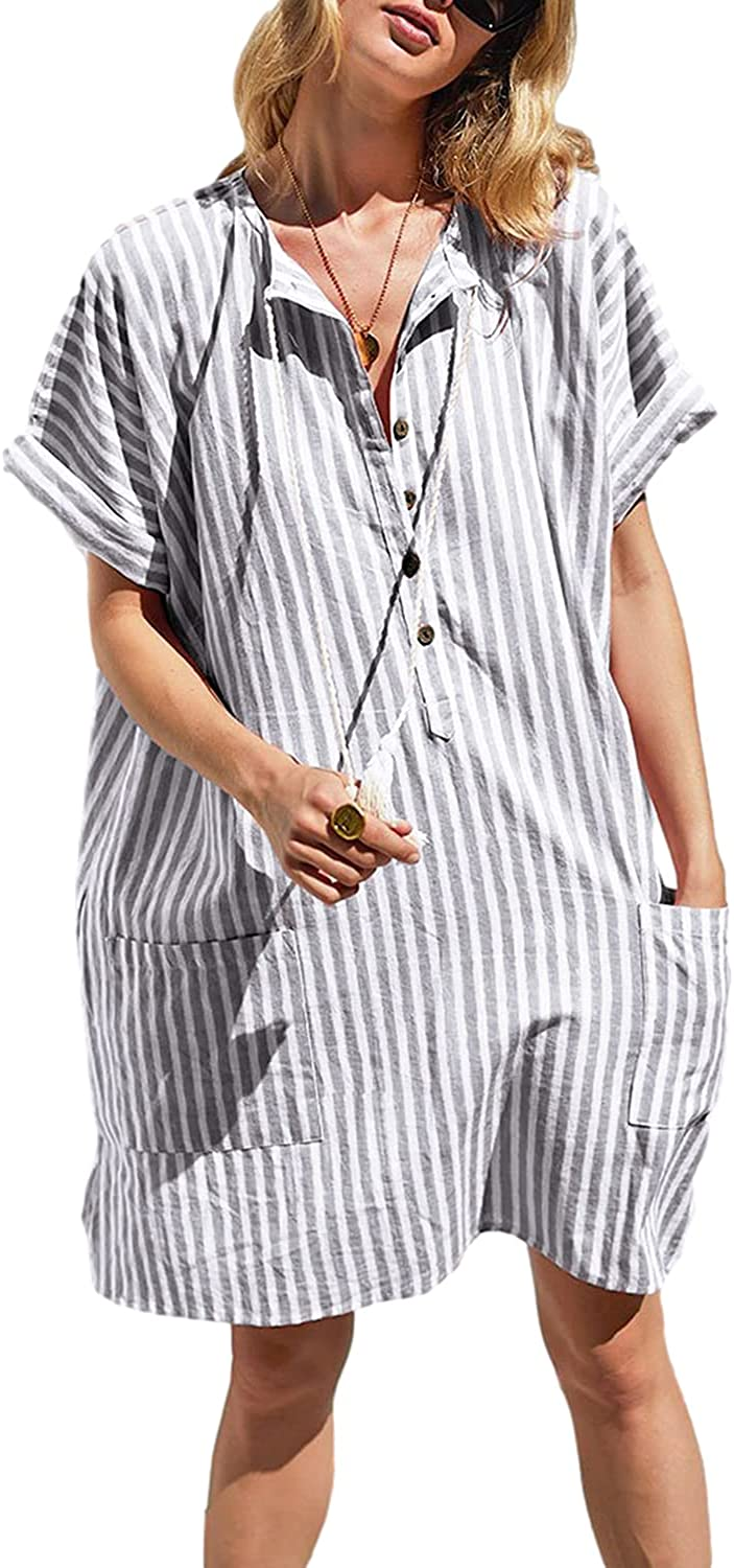 BB&KK Women's Stripe Beach Cover Up Shirt V Neck Button Down Chiffon Swimsuit Cover Ups with Pockets
