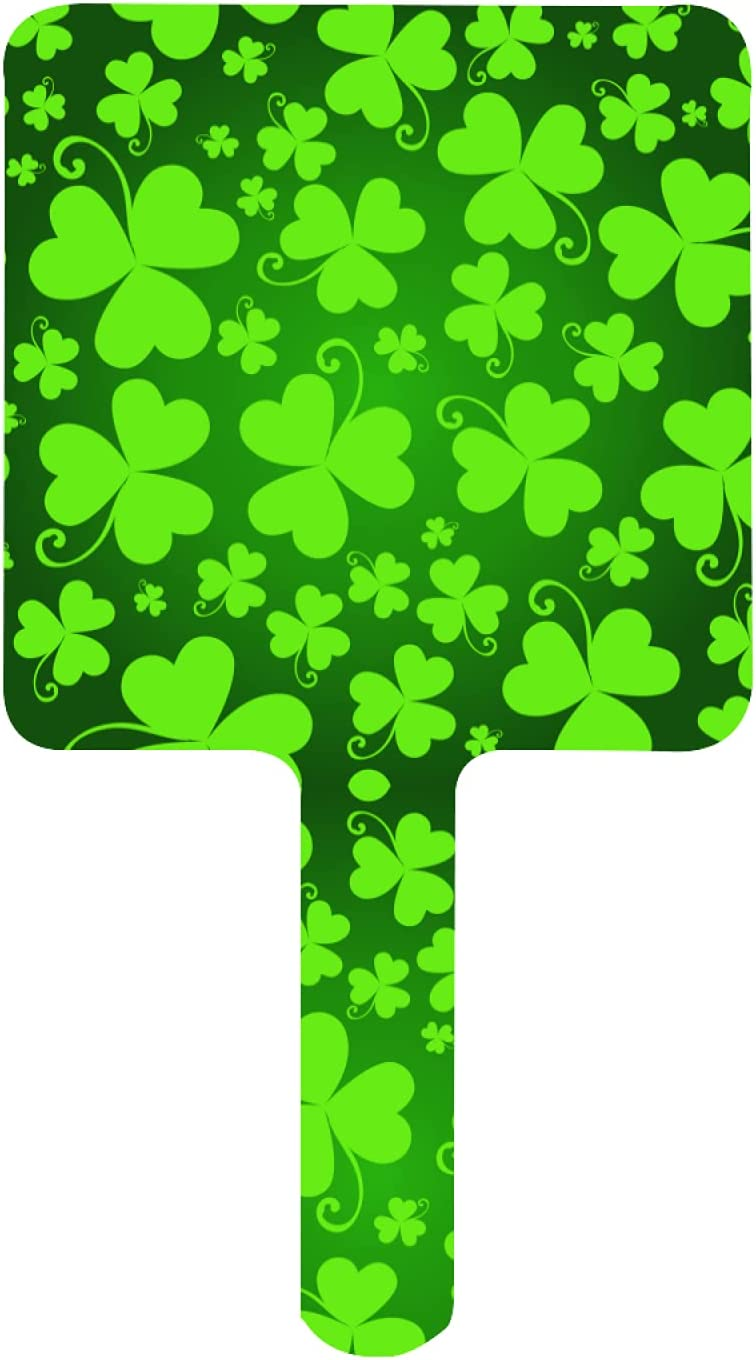 ZXZNC Mirror with Handle Green St Fashionable Patrick' Happy Shamrock free Leaves