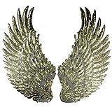 1 par de parches de lentejuelas con alas de ángel para coser o coser en apliques, diseño bordado para accesorios de ropa DIY., Antique Gold, 33cm*18cm(13inch*7inch)