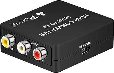 Portta Mini HDMI to 3RCA Composite AV Converter for TV/PC/PS3/Blue-ray DVD1080P,White/Black