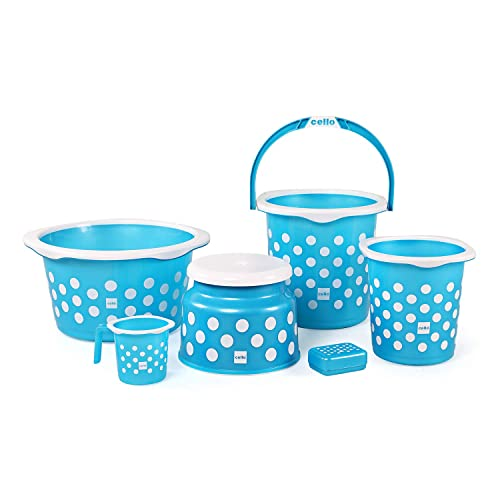 Cello Fusion 6 Piece Plastic Bath Set, Blue